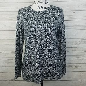 J. Jill Long Sleeve Patterned Black & White Top